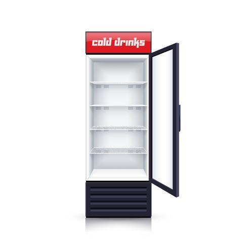 Réfrigérateur vide ouvert illustration réaliste vecteur
