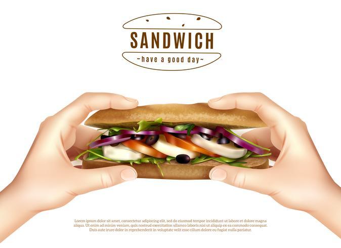 Sandwich santé dans les mains image réaliste vecteur