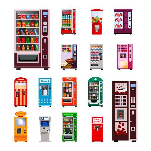 Jeu d'icônes de distributeurs automatiques vecteur