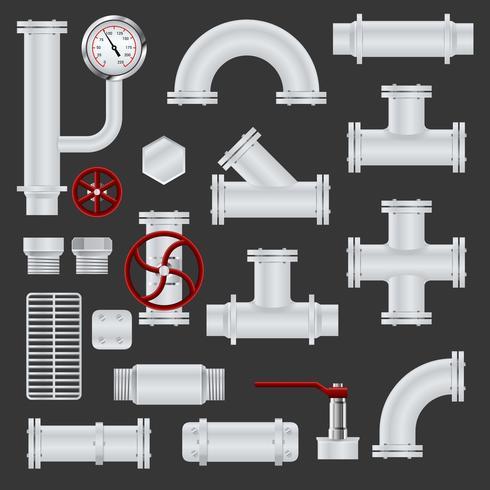 Éléments de pipeline réalistes vecteur