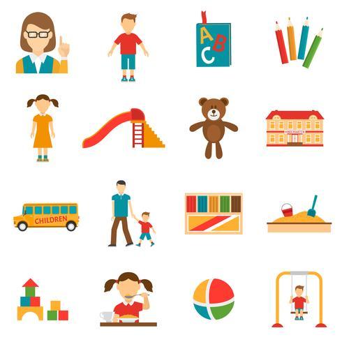 Jeu d'icônes de jardin d'enfants vecteur