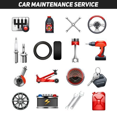 Set d'icônes plat de service de maintenance automobile vecteur