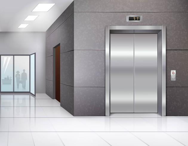 Hall avec ascenseur vecteur