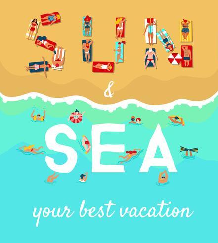 Affiche plate de vacances de plage d'été vecteur