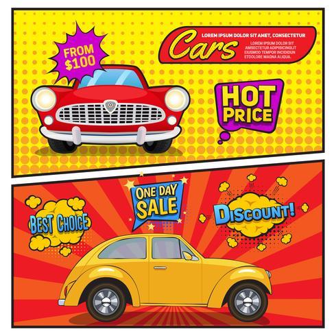 Vente de voitures bannières style bande dessinée vecteur