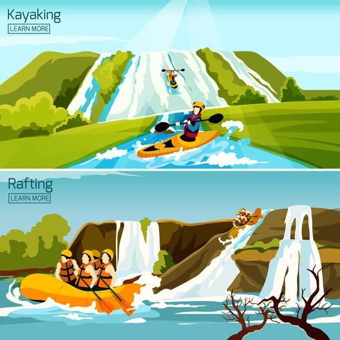 Rafting Canoë Kayak Compositions vecteur