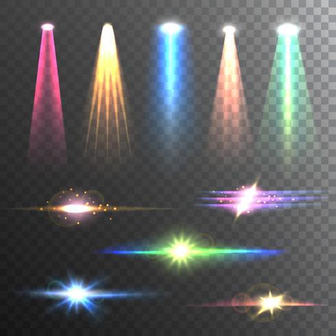 Composition de faisceaux lumineux couleur sur noir vecteur