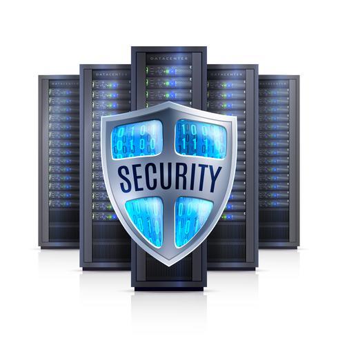 Illustration réaliste du bouclier de sécurité serveur en rack vecteur