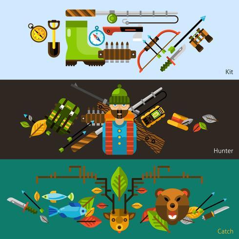 Bannières de chasse et de pêche vecteur