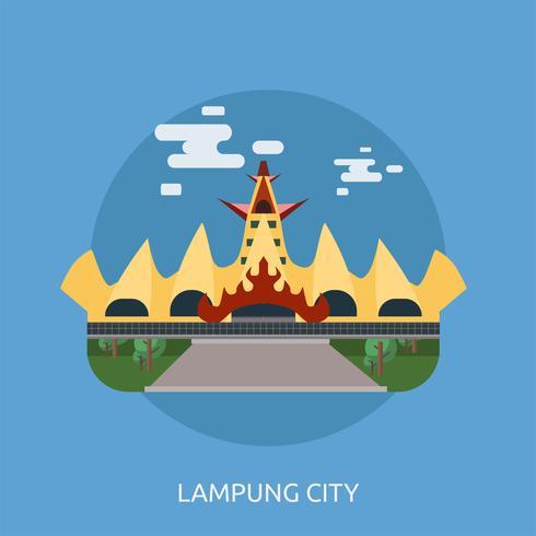 Ville de Lampung Illustration conceptuelle Design vecteur