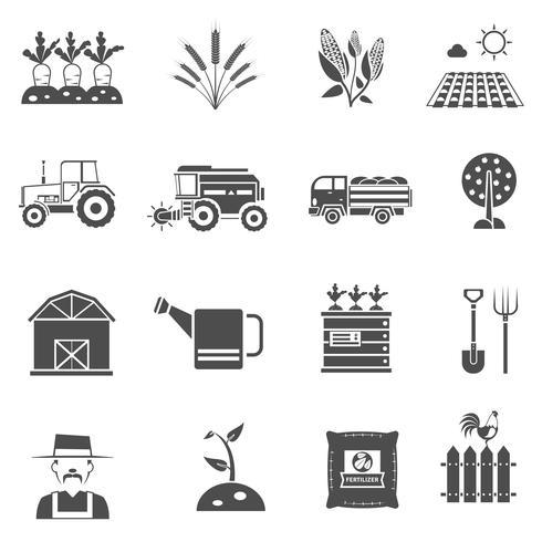 jeu d'icônes de l'agriculture vecteur