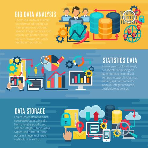 Ensemble de bannières horizontales Big Data vecteur