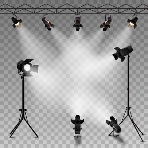Spotlights Fond transparent vecteur