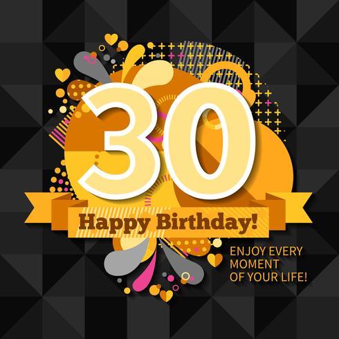 Carte du 30e anniversaire vecteur