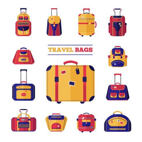 Ensemble de sacs de voyage vecteur