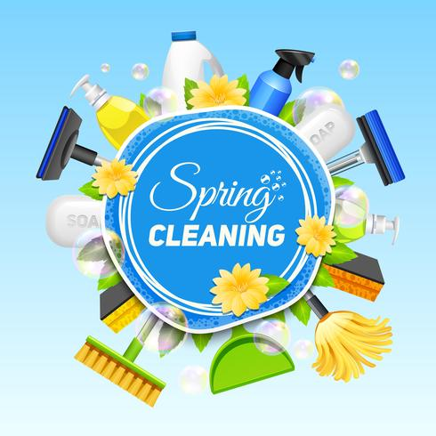Affiche de service de nettoyage vecteur