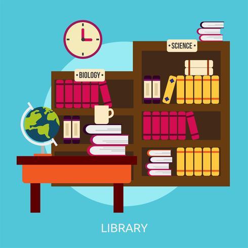 Bibliothèque Illustration conceptuelle Conception vecteur