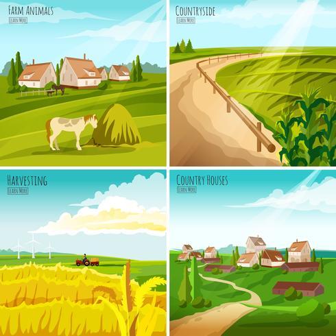 Composition carrée campagne 4 pictogrammes plats vecteur