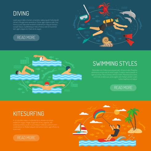 Bannières horizontales de sport aquatique vecteur