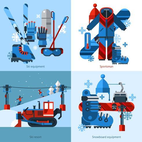 Concept de design de ski 2x2 vecteur