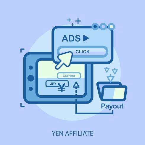 conception d'illustration conceptuelle d'affiliation yen vecteur