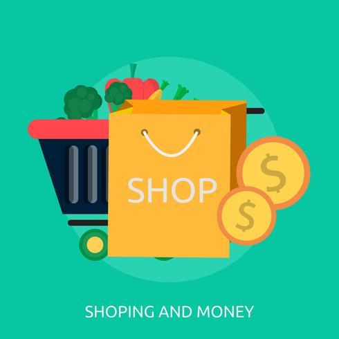 Shoping And Money Illustration conceptuelle Conception vecteur