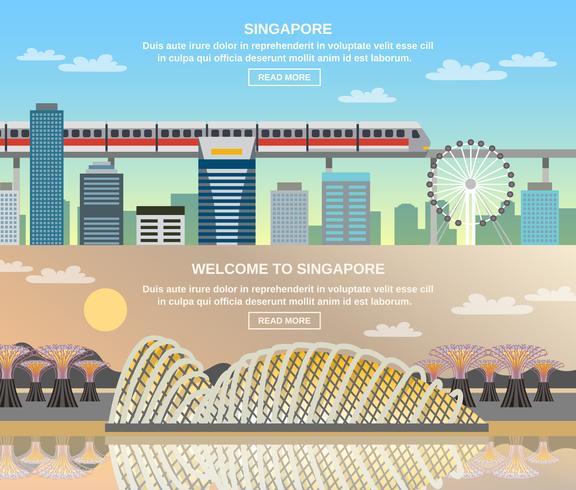 Voyage culturel à Singapour 2 bannières plates vecteur
