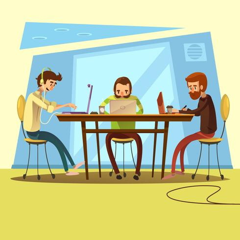 Coworking et illustration d'affaires vecteur