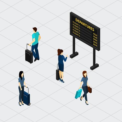 Bannière isométrique pour passagers du hall de l'aéroport vecteur