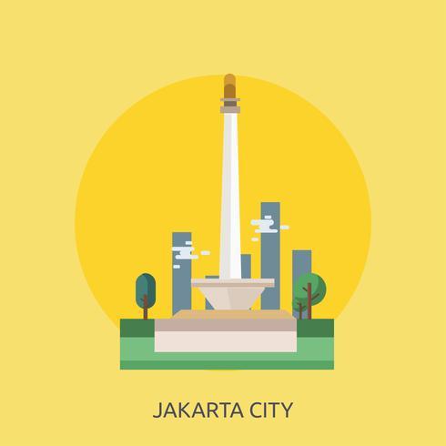 Jakarta Ville d'Indonésie Illustration conceptuelle Conception vecteur