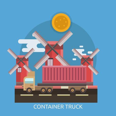 Camion conteneur Illustration conceptuelle Design vecteur