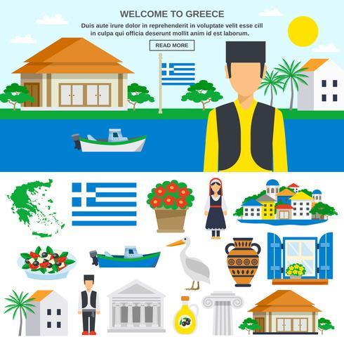 Icônes plats ensemble de la Grèce vecteur