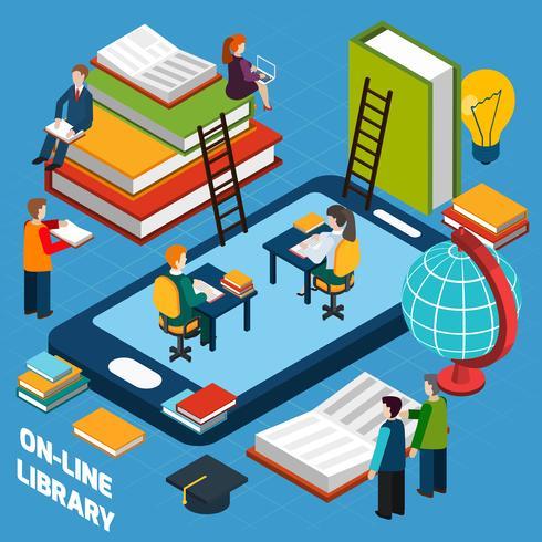 Concept isométrique de la bibliothèque en ligne vecteur