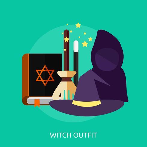sorcière tenue conceptuel illustration design vecteur