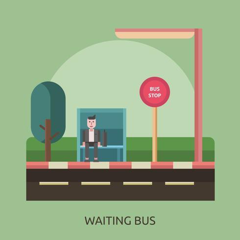 En attente de bus Conceptuel illustration Design vecteur