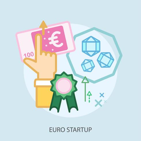 Euro Startup Illustration conceptuelle Design vecteur