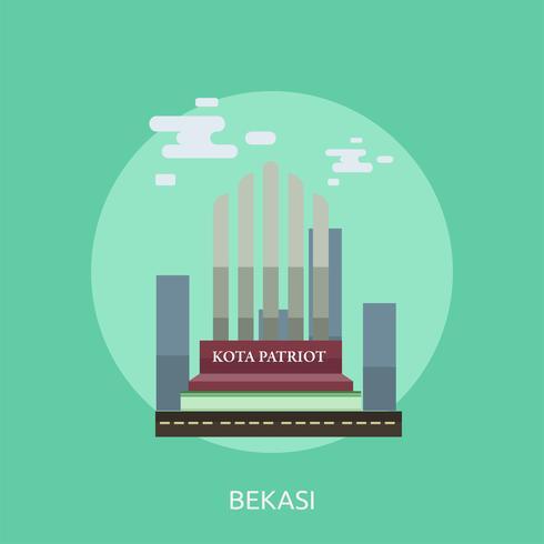 Ville de Bekasi en Indonésie Illustration conceptuelle Conception vecteur