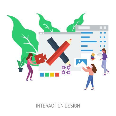 Conception d'interaction Illustration conceptuelle Conception vecteur