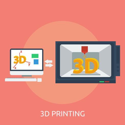 Impression 3D Illustration conceptuelle Design vecteur