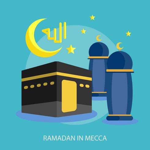 Ramadhan In Mecca Conceptuel illustration Design vecteur