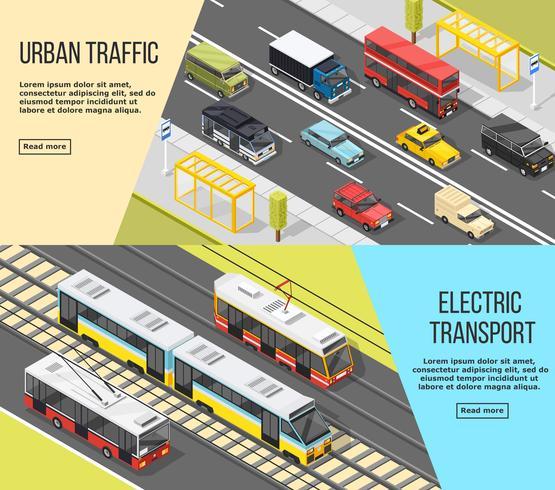 Ensemble de bannières de transport urbain vecteur