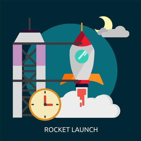 Lancement de fusée Illustration conceptuelle Conception vecteur