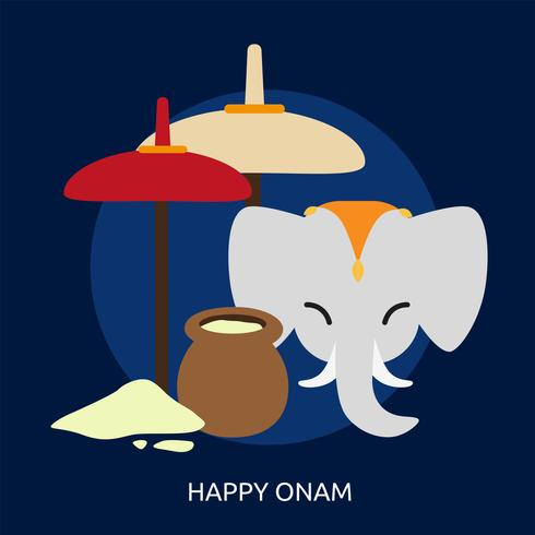 Heureux Onam Conceptuel illustration Design vecteur