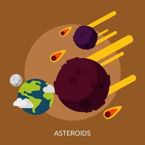 Astéroïdes Illustration conceptuelle Design vecteur