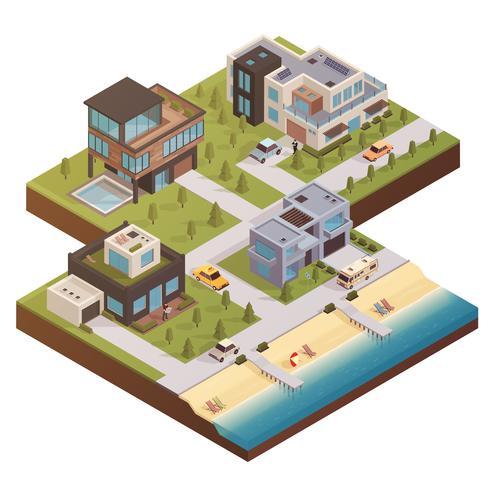 Composition isométrique du domaine immobilier vecteur