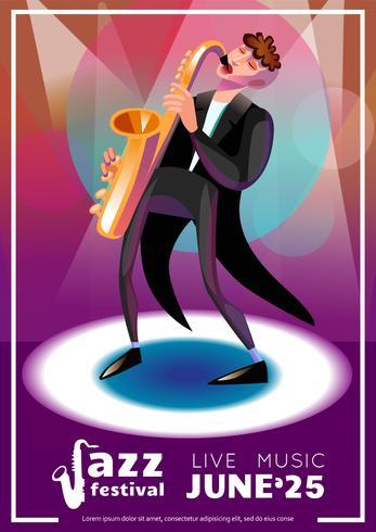 Affiche de bande dessinée de festival de jazz vecteur