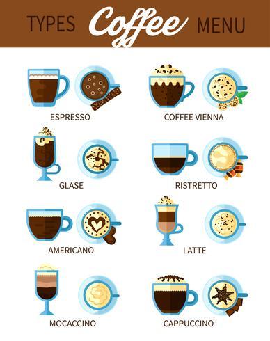 Types de service à café vecteur