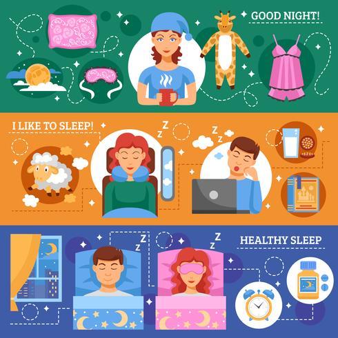 Ensemble de bannières plat Concept de sommeil sain vecteur