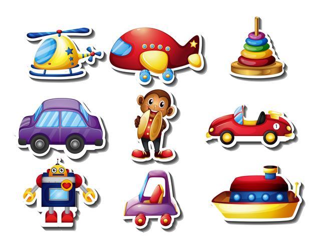 Ensemble d'autocollants de nombreux jouets vecteur