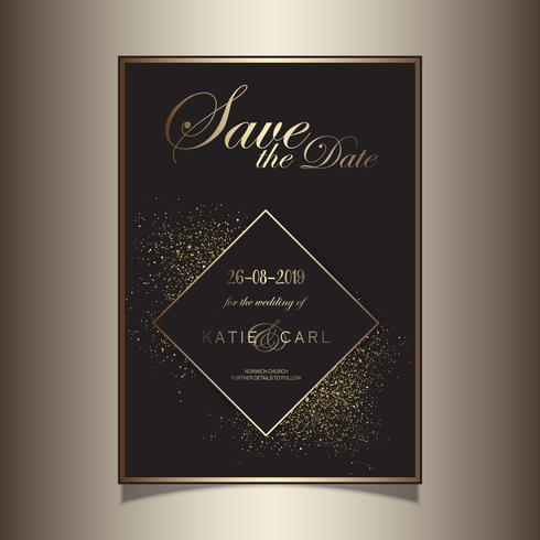 Paillettes d'or enregistrer la conception invitation de date vecteur